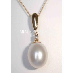 Pearl And Diamond Pendant Necklace. 9ct Gold