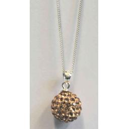 925 Sterling Silver Crystal Ball Pendant Necklace.