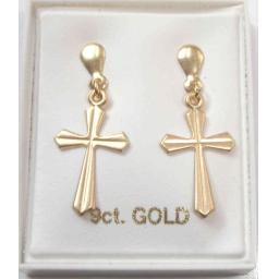9ct Gold Cross Stud Earrings