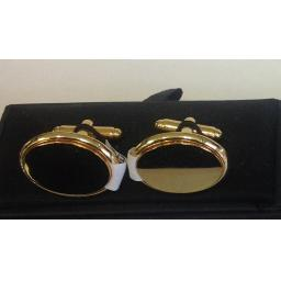 PERSONALISED Gold Plated Oval Cufflinks.