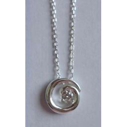 925 Silver Spiral Cubic Zirconia Pendant Necklace