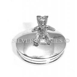 Sterling Silver Teddy Oval Trinket Box