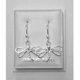 925 Sterling Silver Dragonfly Hook Dangly Earrings