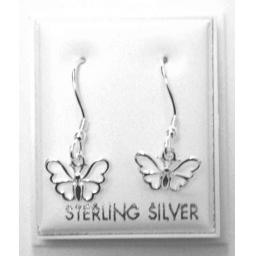 925 Sterling Silver Butterfly Hook Style Dangly Earrings Approximately 2cm