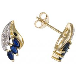 9ct Gold Diamond & Sapphire Stud Earrings
