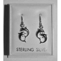 925 Sterling Silver Double Dolphin Hook Earrings.