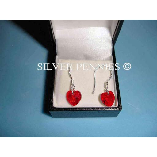 Byzantium Siam Heart Drop Earrings