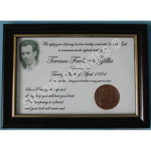80th Birthday Gold Penny