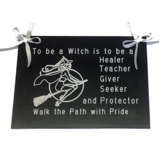 To Be A Witch Engraved Hanging Sign