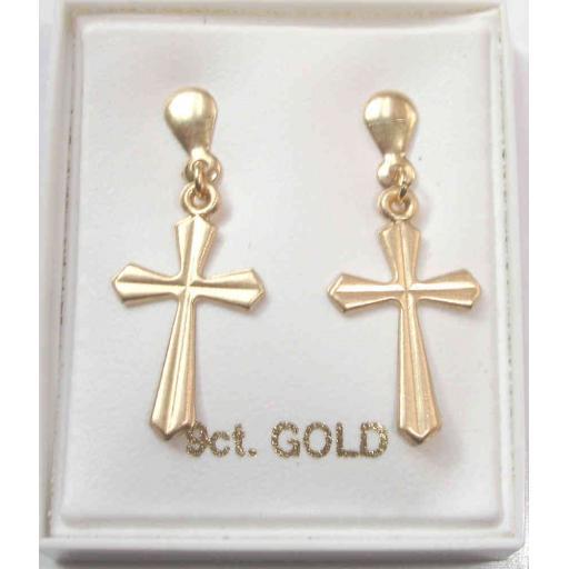 43e4c1f0ba7 9ct Gold Cross Stud Earrings