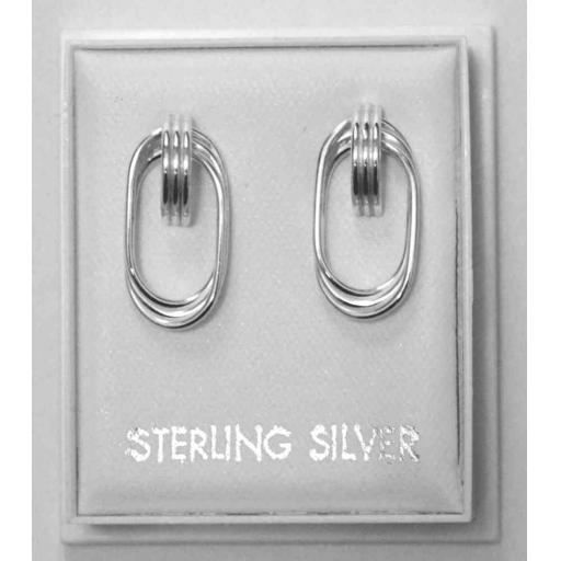 925 Sterling Silver Wire Oval Stud Earrings.