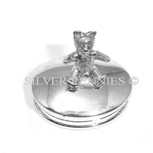 Sterling Silver Teddy Oval Trinket Box