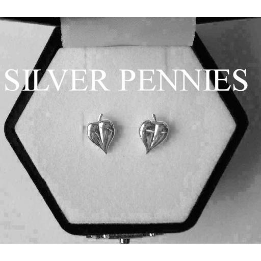 Elements Silver Leaf Stud Earrings