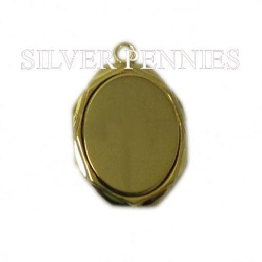 Engraved Pendant Necklace Oval Gold Plate