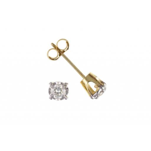 9ct Gold Real Diamond Ear Studs.
