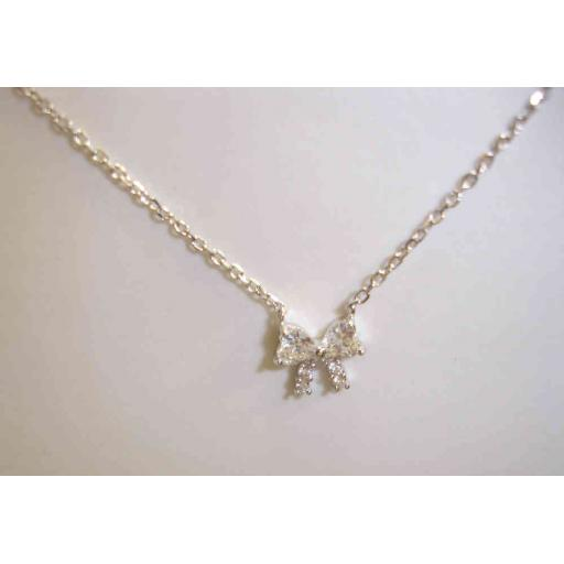 925 Sterling Silver And Cubic Zirconia Bow Necklace