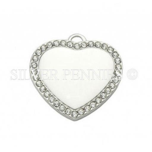 Engraved Pendant Necklace Gem Heart