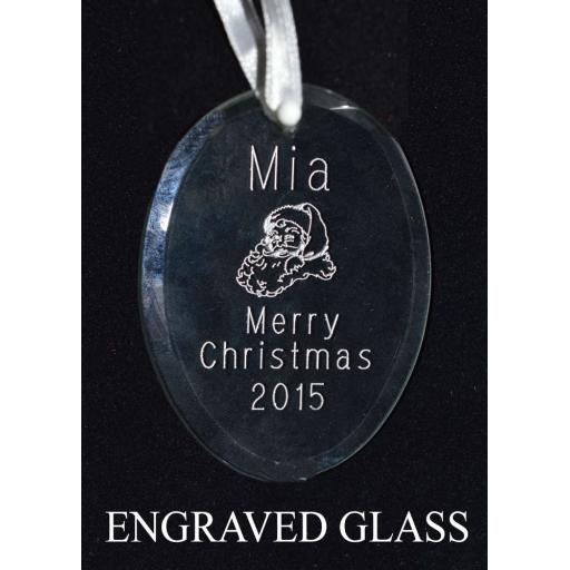 Personalised Glass Oval Christmas Tree Decoration