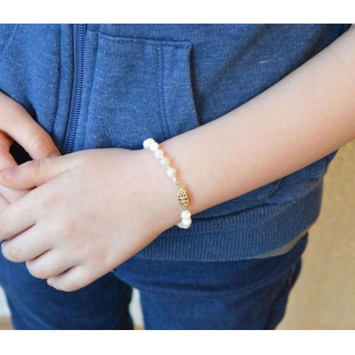 Childs Genuine Pearl Bracelet 5 Inch