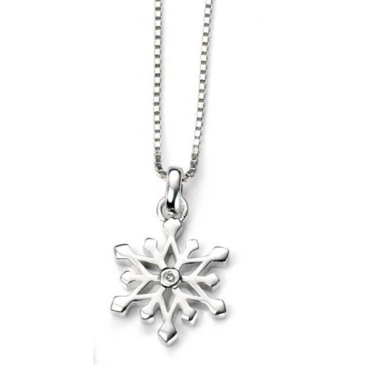 D For Diamond Snow Flake Necklace