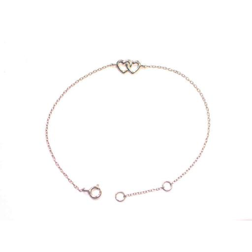 925 Sterling Silver Double Heart Bracelet.