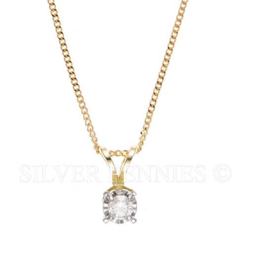9ct Gold Real Diamond Necklace