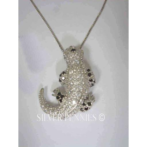 925 Riana Sterling Silver Lizard Pendant Necklace