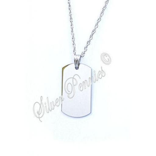 Engraved Pendant Necklace Id Tag Large