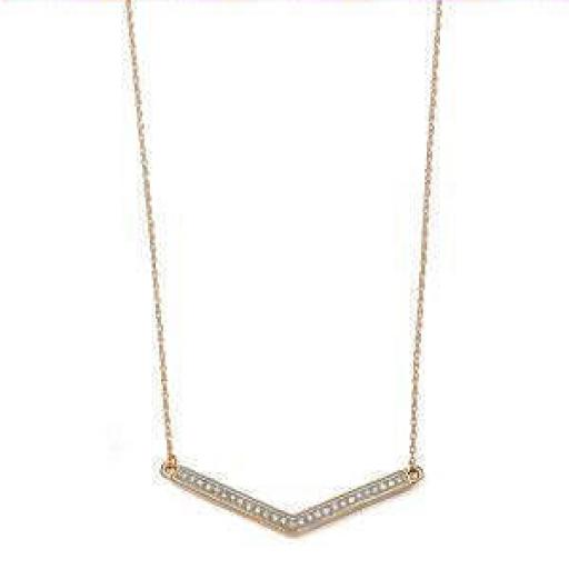 9ct Gold Diamond Chevron Pendant Necklace