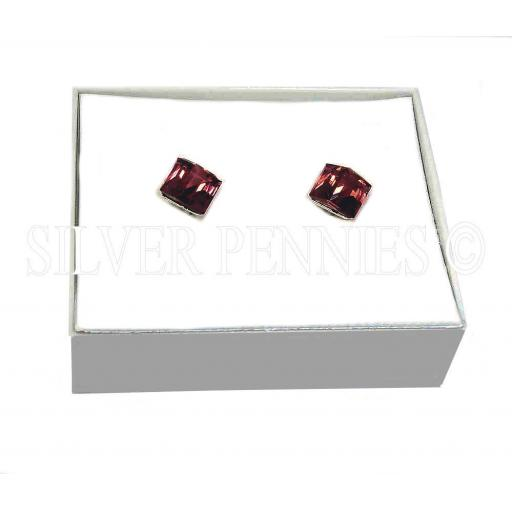 Sterling Silver Red Swarovski Cube Stud Earrings