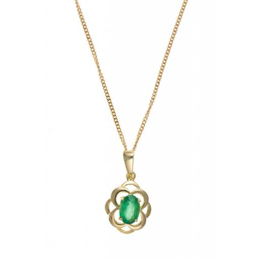 9ct Gold Real Emerald Celtic Pendant Necklace