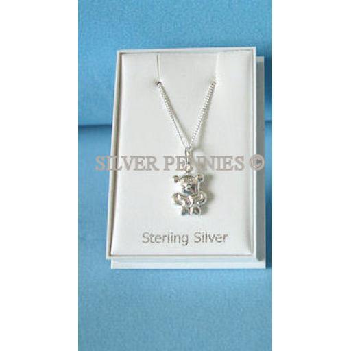 Sterling Silver Teddy Bear Necklace.