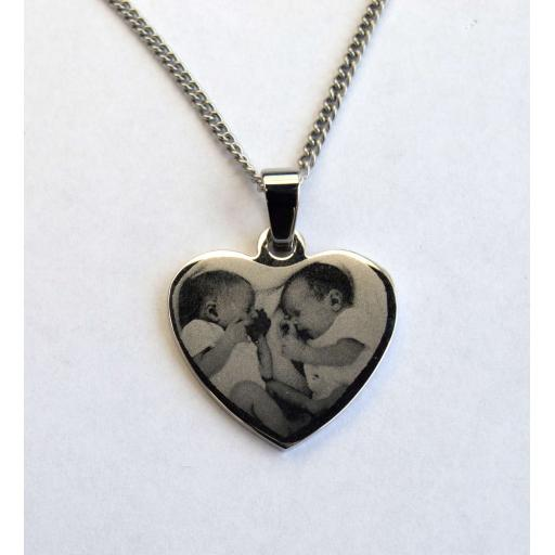 PHOTO ENGRAVED Pendant Necklace Heart