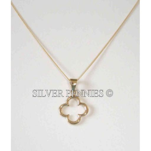9ct Gold Cut Out Flower Design Necklace