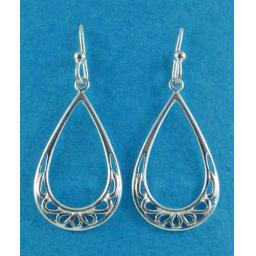 open tear drop dangly earrings