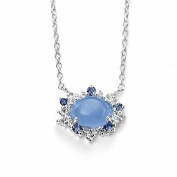 Blue Chalcedony CZ necklace
