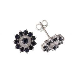 Sterling Silver real diamond and sapphire earrings