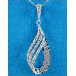 Tripple Teardrop Cubic Zirconia Pendant Necklace.jpg