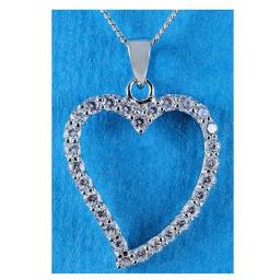 Clear Cubic Zirconia Open Heart Pendant Necklace.jpg