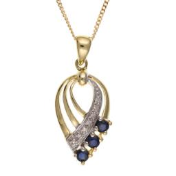 9ct Gold Diamond & Sapphire Necklace