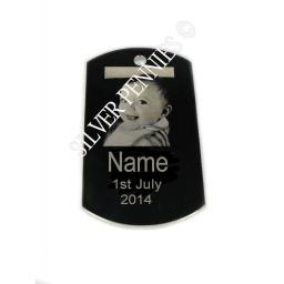 Photo Engraved Pendant Necklace Id Tag SMALL