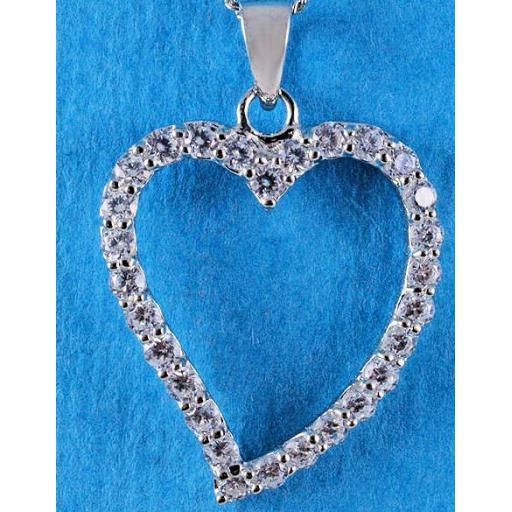 "Cubic Zirconia ""OPEN HEART"" pendant necklace"