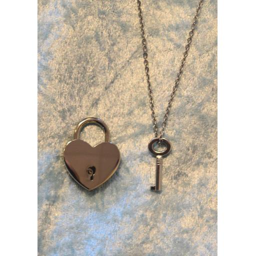 PERSONALISED Lockable Heart shaped Padlock. BDSM. Key on Necklace