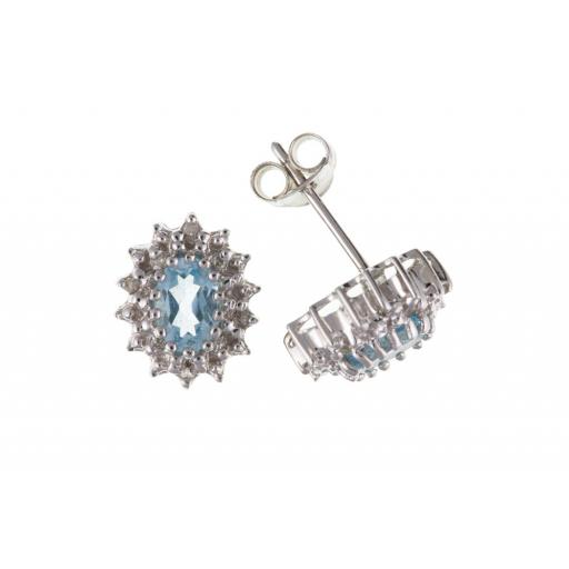 Sterling Silver real Diamond and Topaz earrings