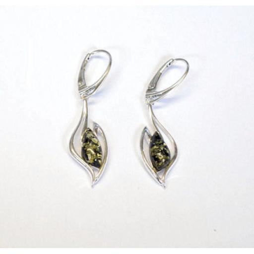 Lever Closing Green Amber Drop Earrings