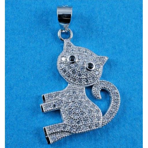 Cubic Zirconia Kitten Necklace