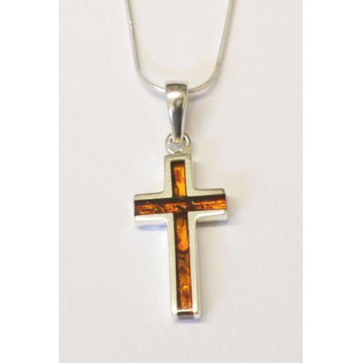 Amber Cross and Chain Necklace