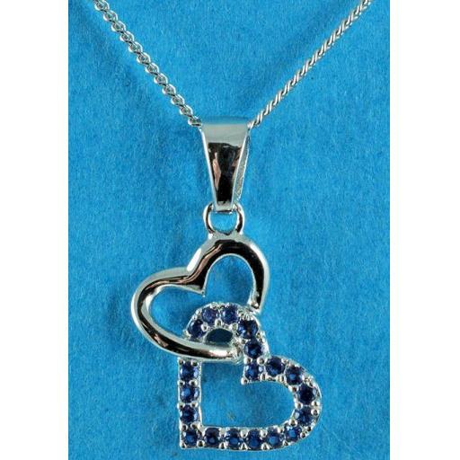 CZ double heart. Blue