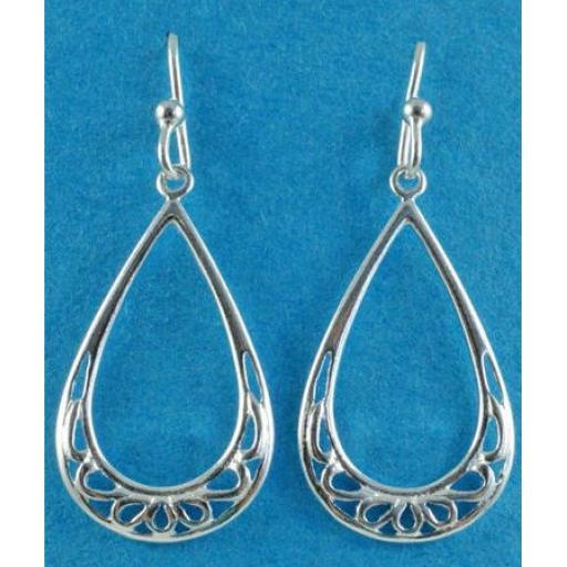 Tear Drop Open pattern Hooked Earrings.jpg
