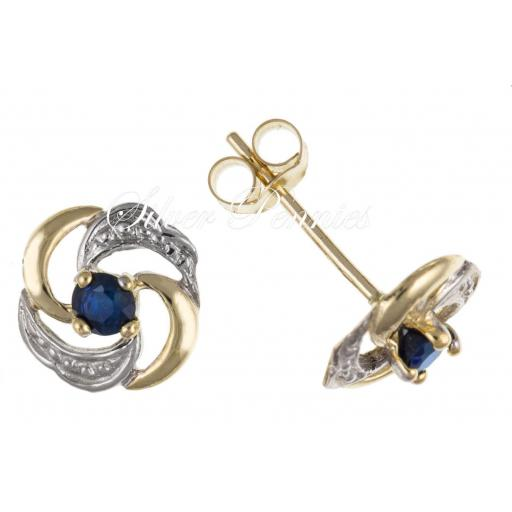 9ct Gold Real Sapphire swirl Stud Earrings